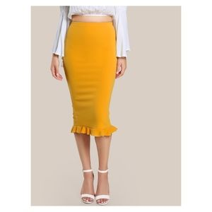 Yellow Ruffle Hem Bodycon Midi Pencil Skirt